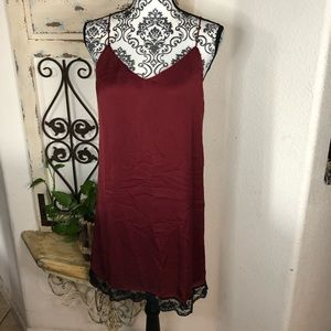 MNG by mango red slip dress with lace detail